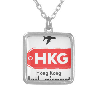 Hong Kong HKG airport code Silver Plated Necklace