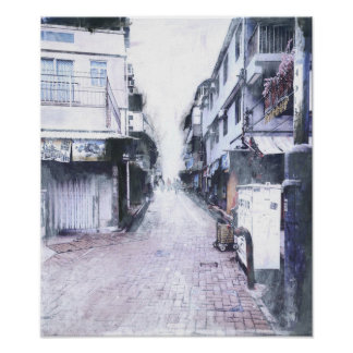 Hong Kong Islands Painted Photograph Poster
