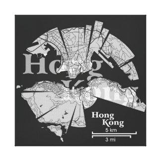 Hong Kong Map Wrapped Canvas Canvas Prints