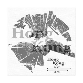 Hong Kong Map Wrapped Canvas Gallery Wrap Canvas