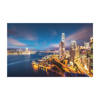 Hong Kong Night City Skyline Premium Canvas Gallery Wrapped Canvas