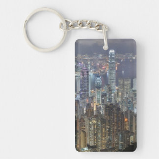 Hong Kong Night Skyline from Victoria Peak Key Ring