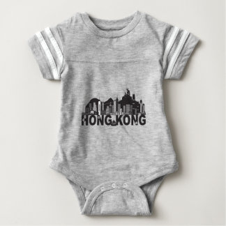 Hong Kong Skyline Buddha Statue Text Baby Bodysuit