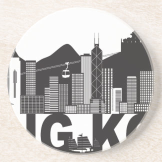 Hong Kong Skyline Buddha Statue Text Beverage Coasters