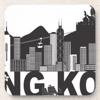 Hong Kong Skyline Buddha Statue Text Drink Coasters