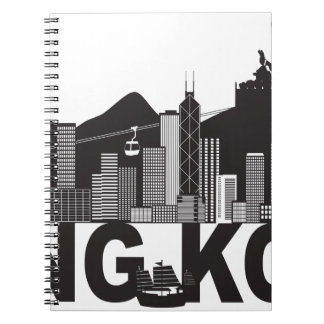 Hong Kong Skyline Buddha Statue Text Notebook