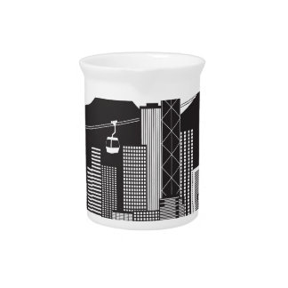 Hong Kong Skyline Buddha Statue Text Pitcher