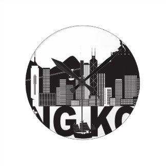 Hong Kong Skyline Buddha Statue Text Round Clock