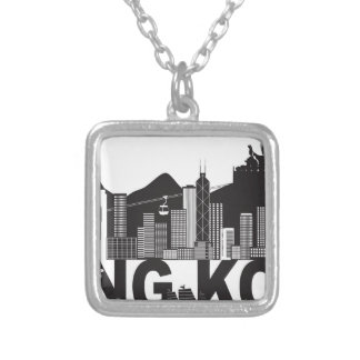 Hong Kong Skyline Buddha Statue Text Silver Plated Necklace
