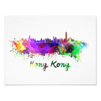 Hong Kong skyline in watercolor Art Photo