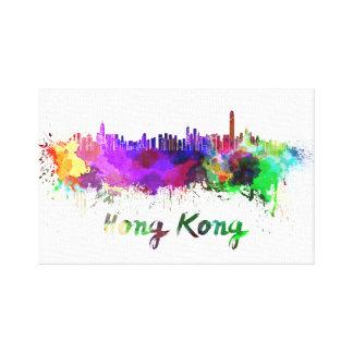 Hong Kong skyline in watercolor