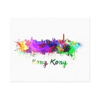 Hong Kong skyline in watercolor Canvas Print