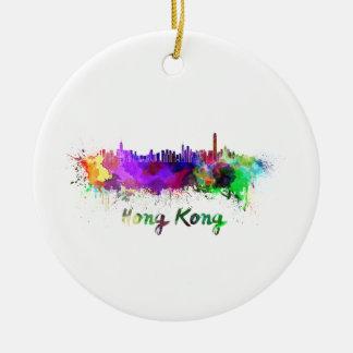 Hong Kong skyline in watercolor Ceramic Ornament