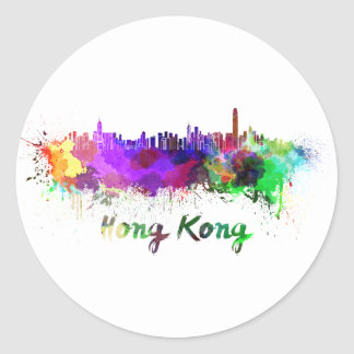 Hong Kong skyline in watercolor Round Sticker