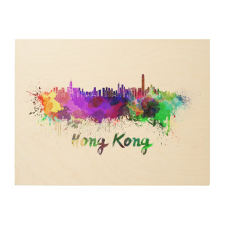 Hong Kong skyline in watercolor Wood Prints