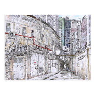 Hong Kong urban sketch. Kowloon Postcard