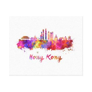 Hong Kong V2 skyline in watercolor Canvas Print