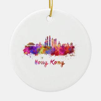 Hong Kong V2 skyline in watercolor Ceramic Ornament
