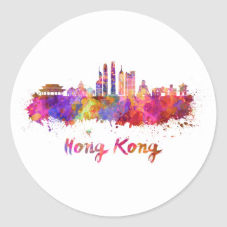 Hong Kong V2 skyline in watercolor Classic Round Sticker