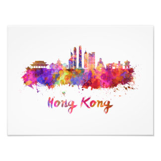 Hong Kong V2 skyline in watercolor Photographic Print
