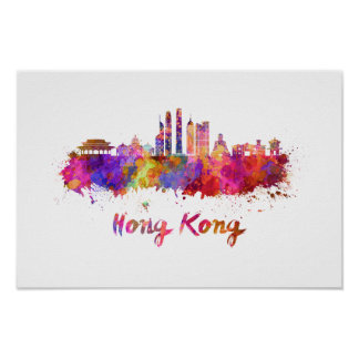 Hong Kong V2 skyline in watercolor Poster