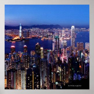 Hong Kong Victoria Harbor at Night Poster