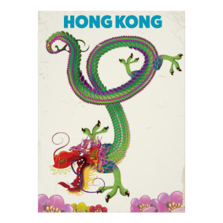 Hong Kong Vintage style travel poster