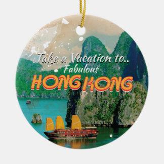 Hong Kong Vintage Travel Poster Ceramic Ornament