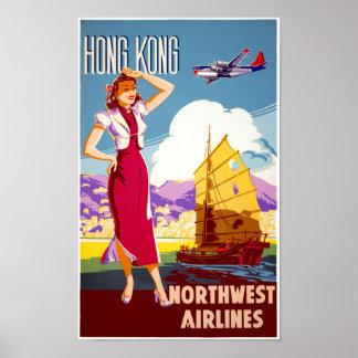 Hong Kong Vintage Travel Poster Restored