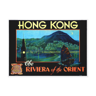 Hong Kong Vintage Travel Poster Restored Canvas Print