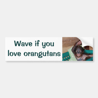Honk or Wave If You Love Orangutans Bumper Sticker