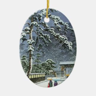 Honmonji Temple in Snow - Kawase Hasui 川瀬 巴水 Ceramic Oval Decoration
