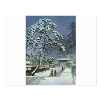 Honmonji Temple in Snow - Kawase Hasui 川瀬 巴水 Postcard