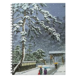 Honmonji Temple in Snow - Kawase Hasui 川瀬 巴水 Spiral Notebook