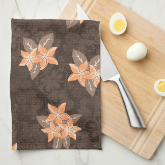 Honolua Plumeria Hawaiian Tropical Print Tea Towel