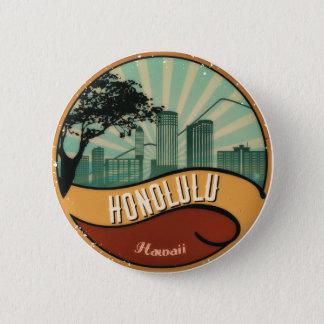 Honolulu City Skyline Retro Vintage Button