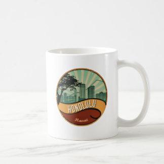 Honolulu City Skyline Retro Vintage Mug