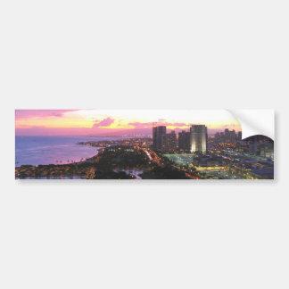 Honolulu cityscape Hawaii sunset Bumper Sticker