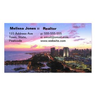 Honolulu cityscape Hawaii sunset Business Card Templates