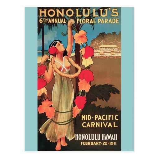 Honolulu, Hawaii 6th Annual Floral Parade 1911 Post Card