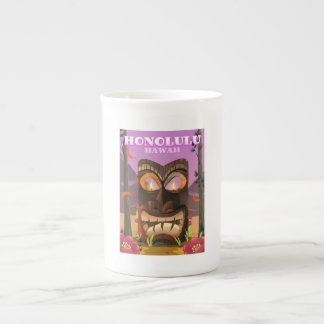 Honolulu Hawaii face mask travel poster Tea Cup