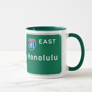 Honolulu, HI Road Sign Mug