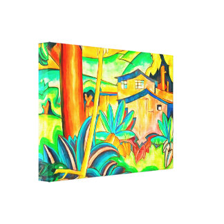 Honolulu Island Home in Hawaii Colorful and Bold Canvas Print
