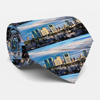 Honolulu Skyline and Marina Men's Tie