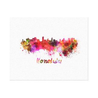 Honolulu skyline in watercolor canvas print