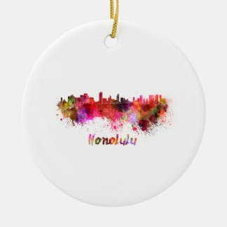 Honolulu skyline in watercolor ceramic ornament