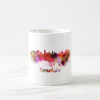 Honolulu skyline in watercolor coffee mug