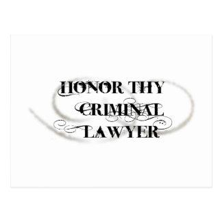 Honor Thy Criminal Lawyer Postcard
