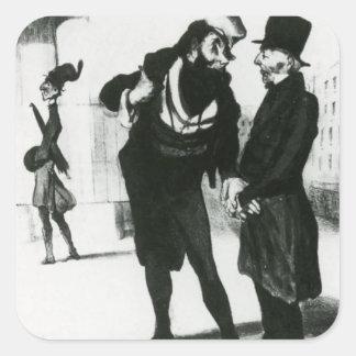 Honore Daumier: Robert Macaire Business Men Square Sticker