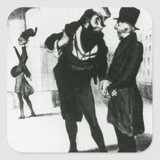Honore Daumier: Robert Macaire Business Men Square Stickers